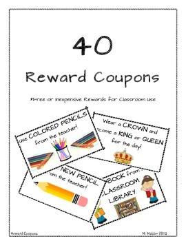 40 Reward Coupons Behavior Management