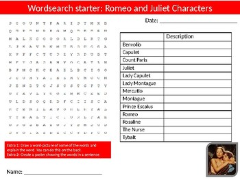 40 Romeo and Juliet English literature Starter Activities Wordsearch Crossword