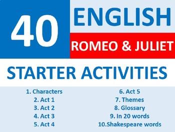 40 Romeo and Juliet English literature Starter Activities Wordsearch Crossword