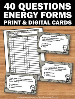 Energy Sources Task Cards, Physical Science Review, Energy Transformations