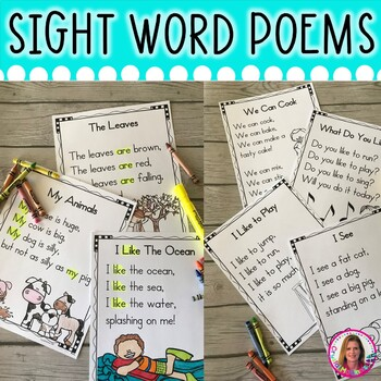 40 sight word poems for shared reading for beginning readers tpt. Black Bedroom Furniture Sets. Home Design Ideas