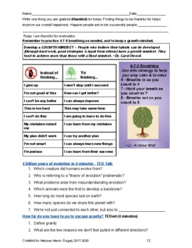40 Social and Emotional Learning Mini Lesson Student Packets - Upper Grades