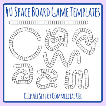 40 Space Board Game Templates Clip Art Set Commercial Use