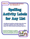 40 Spelling Activity Labels for Any List