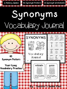40 Synonym Posters &  Synonym Vocabulary Journal, Memory Games & Printables