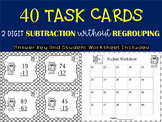 {$1.25 FLASH DEAL} 40 TASK CARDS - 2 DIGIT SUBTRACTION WITHOUT REGROUPING