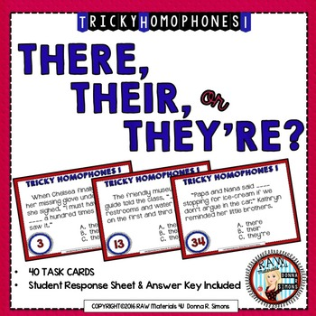 40 TASK CARDS-HOMOPHONES-THERE, THEIR, or THEY'RE?