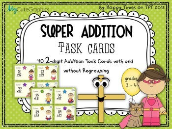 40 TWO-DIGIT NUMBERS ADDITION MATH TASK CARDS (sums with/ without regrouping)
