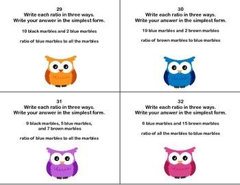 40 Task Cards-Grade 6 Math- Ratios -CCSS.MATH.CONTENT.6.RP.A.1-A.2 Owl Theme