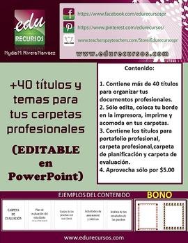+40 Temas y divisiones para tus carpetas profesionales: EDITABLE en PowerPoint