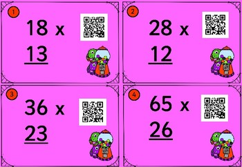 40 Two Digit Multiplication Cards with QR Readers