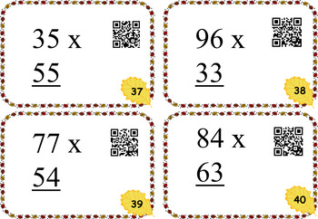 40 Two Digit Multiplication Cards with QR Readers ~ FALL THEME