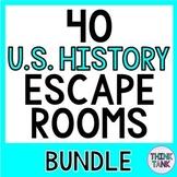 40 US History Escape Rooms BUNDLE! Constitution, 13 Coloni