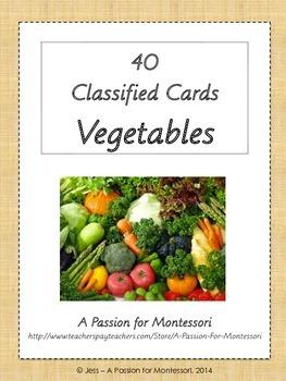 40 Vegetable Three Part Cards, Montessori, Language activities