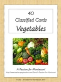 40 Vegetable Three Part Cards, Montessori, Language activities