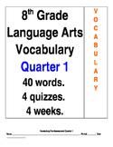 40 Vocabulary Words for 8th Grade Language Arts