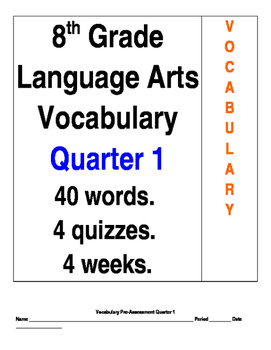 40 Vocabulary Words for 8th Grade Language Arts