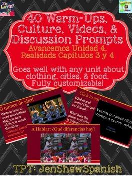 40 Warm-ups, Discussion Prompts, & Culture Avancemos Unidad 4 Ciudad Ropa Comida