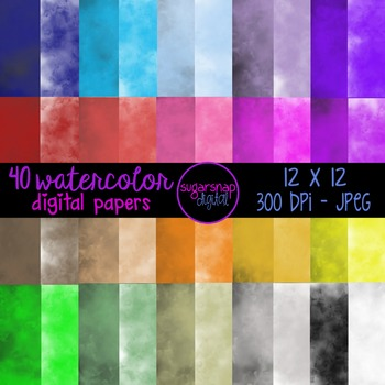 40 Watercolor Digital Backgrounds Scrapbooking Paper