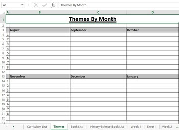 40 Week Spreadsheet Lesson Planner | Editable | Tabs for Book Lists & Themes