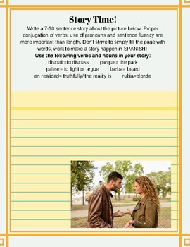 40 Weekly Story Prompts for Beginning Spanish! 40 premade pages!