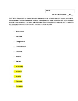 40 Weeks of Vocabulary Words (NYS Regents + SAT Aligned)