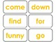 40 Yellow Bold Text Dolch Pre-Primer Sight Word Flash Cards in a PDF file.