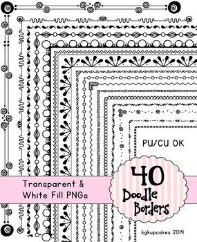 40 blackline doodle borders
