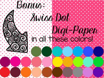 40 blackline doodle borders...with swiss dot digi paper