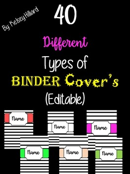 40 different types of Binder Covers  (Stripe) *Can Be Edited*