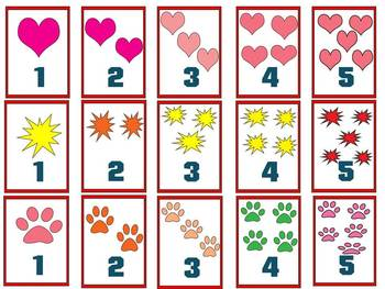 Flashcards - numbers and pictures - Clipart - 40 individual files