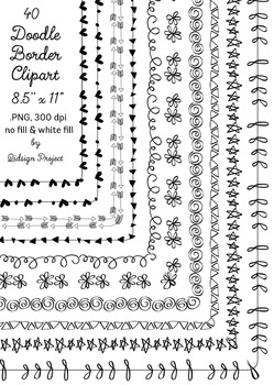 40 hand drawn frames - doodle borders -- digital frames clipart