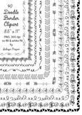 40 hand drawn frames - doodle borders -- digital frames clipart
