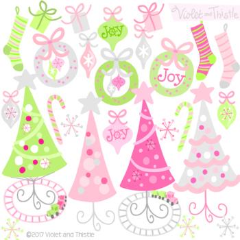 Clipart Christmas Tree Clipart Christmas Wreath Clipart Christmas Pink Clipart