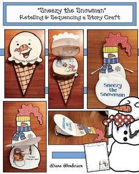 "Winter Snowman Activities: ""Sneezy the Snowman"" Sequencing & Retelling Booklet"