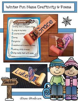 Winter Activities: Name Sled Craft With Poems & Writing Prompts