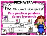 60 oraciones y 80 dibujos para practicar palabras de uso frecuente en primavera