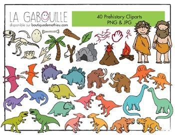 40 superbes cliparts – Dinosaures et hommes des cavernes (PNG & JPG)