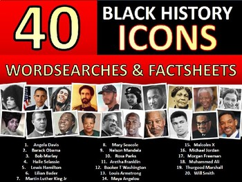40 x Black History Month Famous People Icons Factsheets Wordsearch Keywords