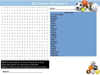 40 x Sports Wordsearches PE Fitness Health Starter Settler Activity Homework