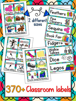 400+ Classroom and Supply Labels - Multi-Colored Polka Dots on Turquoise Themed