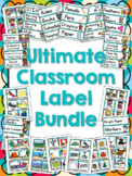 Ultimate Classroom Label Bundle - Multi-Colored Polka Dots on Turquoise Themed