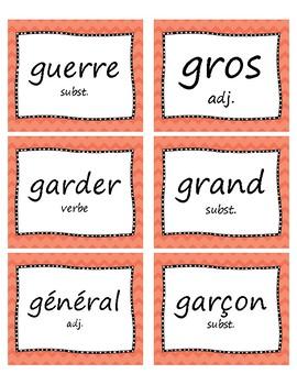 400+ Mots fréquents en français - French Word Wall Cards