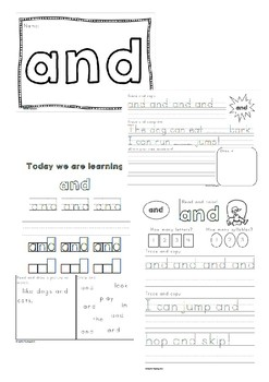400 Sight Word Practise Worksheets