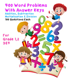 400 Word Problems Bundle on Addition, Subtraction, Multiplication & Division