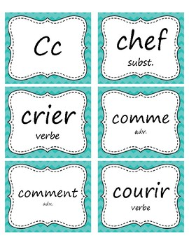 400+ Mots fréquents en français - French Word Wall Cards