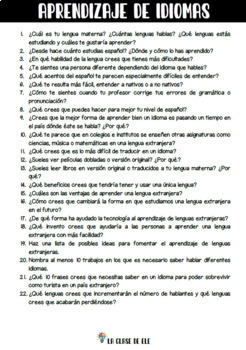 400 questions about 23 topics for Spanish conversation