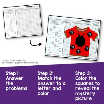 Division Coloring Sheet, 3rd Grade Missing Divisor Dividend or Quotient Pages