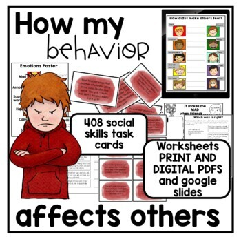 408 Task Cards. How my behavior affects others. Social Skills. Autism.