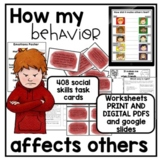How my behavior affects others activities worksheets and task cards digital